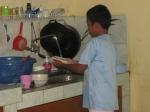 zaky washing dishes