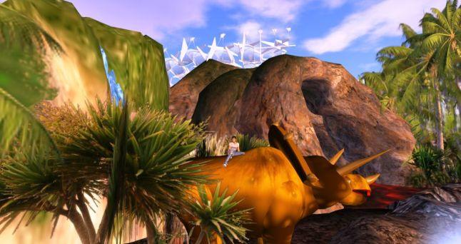 Ali menunggang triceratop